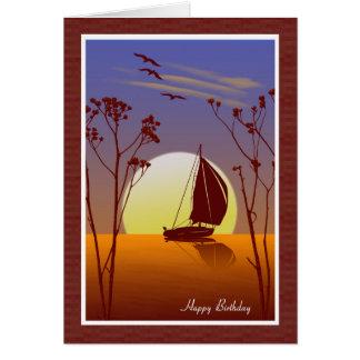 Tarjeta de cumpleaños cristiana del velero de la