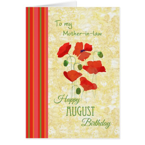 Tarjeta de cumpleaños de agosto para la suegra,