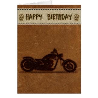 Tarjeta de cumpleaños de cuero del motorista del