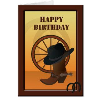 Tarjeta de cumpleaños de encargo del vaquero