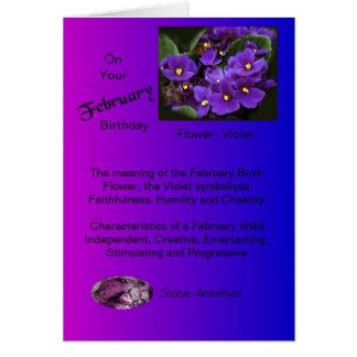 Tarjeta de cumpleaños de febrero - violeta y