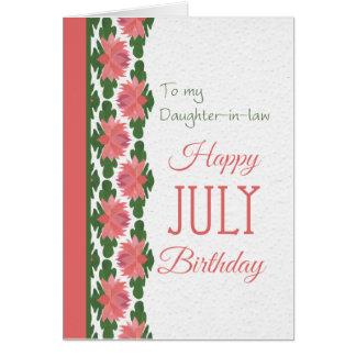 Tarjeta de cumpleaños de julio, nuera, lirios de a