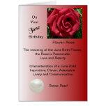 Tarjeta de cumpleaños de junio - color de rosa y p