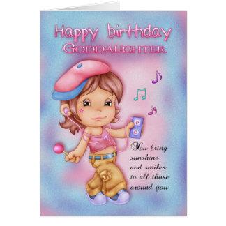 Tarjeta de cumpleaños de la ahijada - chica lindo
