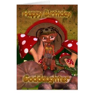 Tarjeta de cumpleaños de la ahijada con el duende