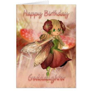 Tarjeta de cumpleaños de la ahijada con la fresa y