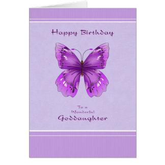 Tarjeta de cumpleaños de la ahijada - mariposa púr
