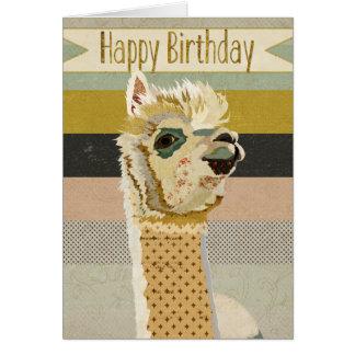 Tarjeta de cumpleaños de la alpaca