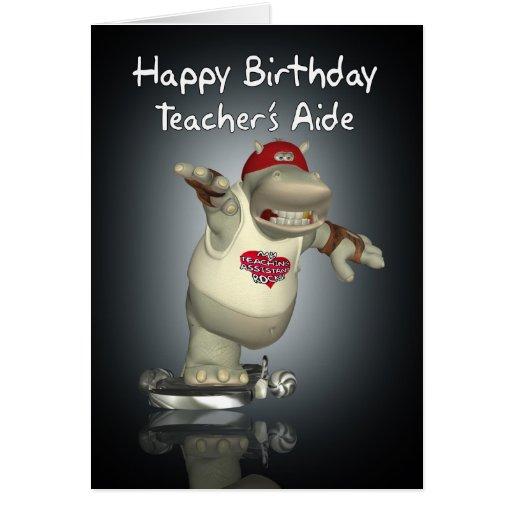 Tarjeta de cumpleaños de la ayuda del profesor - h