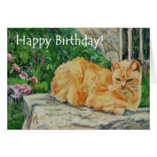 Tarjeta de cumpleaños de la bella arte, gato del