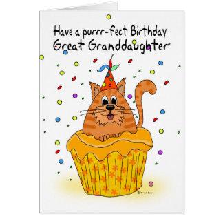 tarjeta de cumpleaños de la bisnieta con el gato d