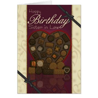 Tarjeta de cumpleaños de la cuñada - chocolates