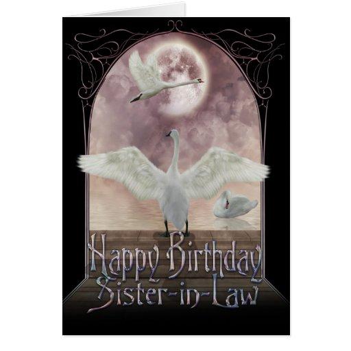 Tarjeta de cumpleaños de la cuñada - cisnes