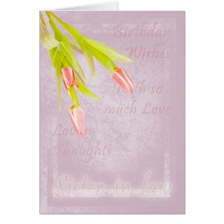 Tarjeta de cumpleaños de la cuñada, con los tulipa