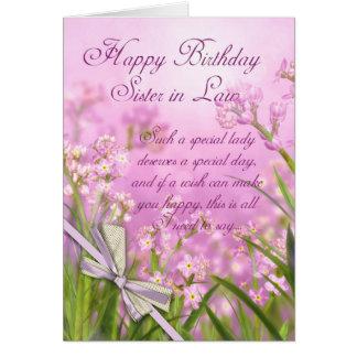 Tarjeta de cumpleaños de la cuñada - floral femeni