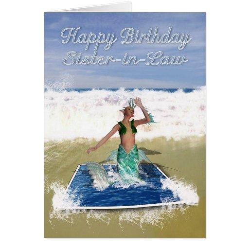Tarjeta de cumpleaños de la cuñada - sirena del ar