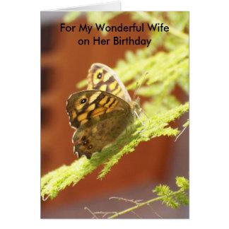 Tarjeta de cumpleaños de la esposa de la mariposa