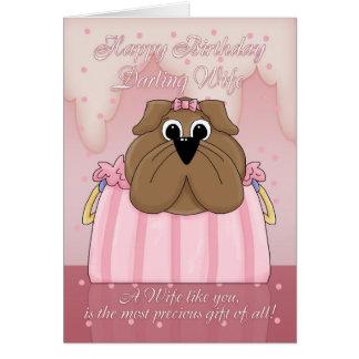 Tarjeta de cumpleaños de la esposa - dogo lindo en