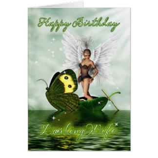 Tarjeta de cumpleaños de la esposa - hada del cisn