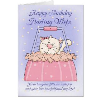 Tarjeta de cumpleaños de la esposa - mascota lindo