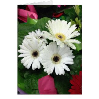 Tarjeta de cumpleaños de la flor blanca