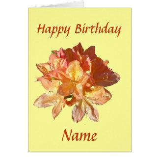 Tarjeta de cumpleaños de la flor de la azalea