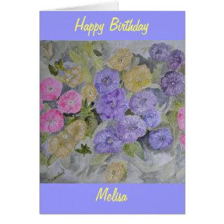 Tarjeta de cumpleaños de la flor de la original pi
