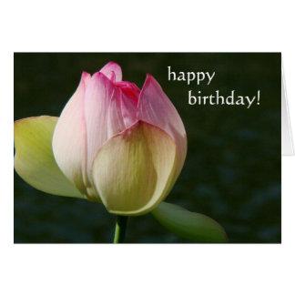 Tarjeta de cumpleaños de la flor de Lotus de la