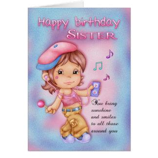 Tarjeta de cumpleaños de la hermana - chica lindo