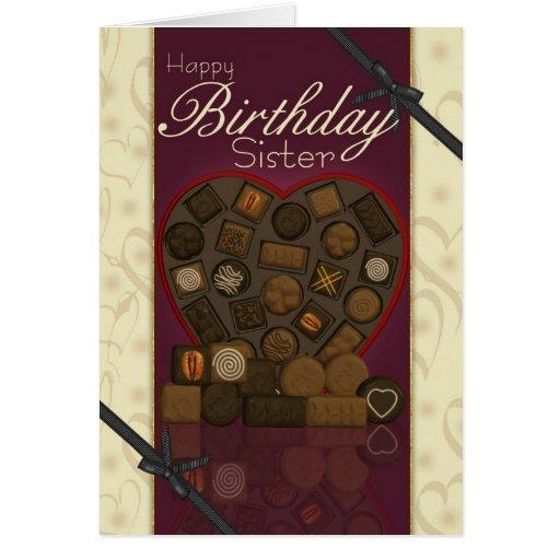 Tarjeta de cumpleaños de la hermana - chocolates