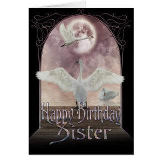 Tarjeta de cumpleaños de la hermana - cisnes