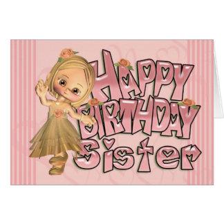 Tarjeta de cumpleaños de la hermana con con la niñ