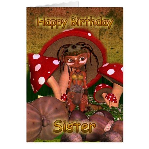 Tarjeta de cumpleaños de la hermana con el duende