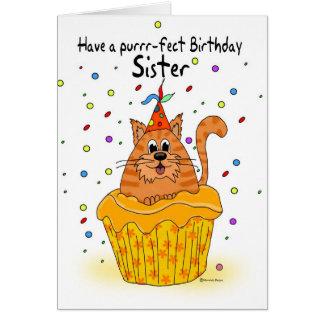tarjeta de cumpleaños de la hermana con el gato de