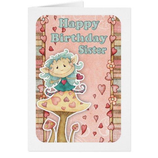 tarjeta de cumpleaños de la hermana con el pequeño