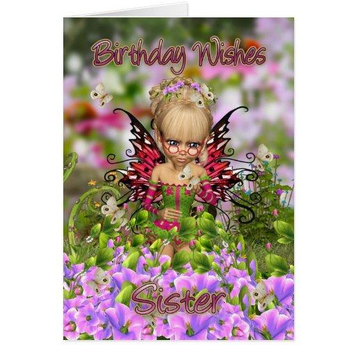 Tarjeta de cumpleaños de la hermana con la cereza
