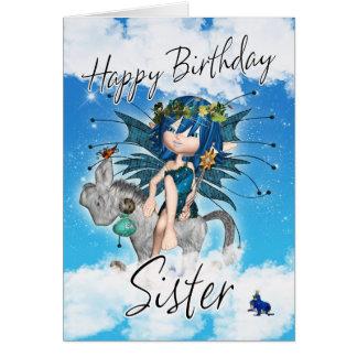 Tarjeta de cumpleaños de la hermana - con la hada