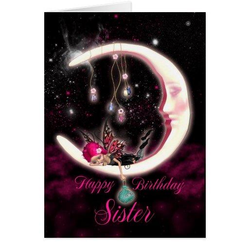 Tarjeta de cumpleaños de la hermana con la hada de