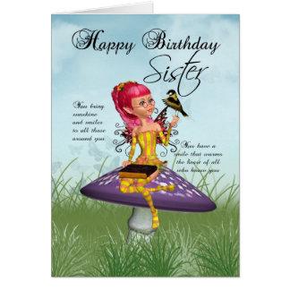 Tarjeta de cumpleaños de la hermana con la hada y