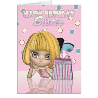 Tarjeta de cumpleaños de la hermana con la niña y