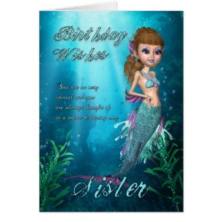 Tarjeta de cumpleaños de la hermana con la sirena