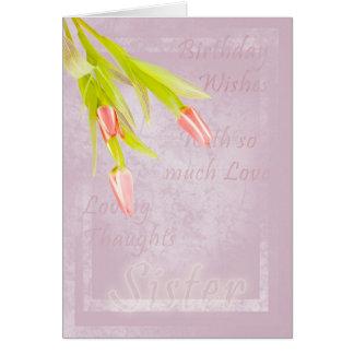 Tarjeta de cumpleaños de la hermana, con los tulip