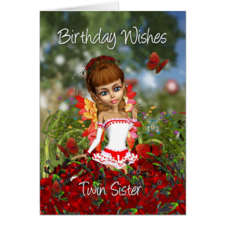 Tarjeta de cumpleaños de la hermana de Twiin con l