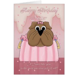 Tarjeta de cumpleaños de la hermana - dogo lindo e