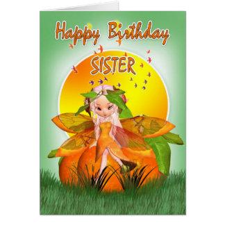 Tarjeta de cumpleaños de la hermana - hada de la f