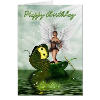 Tarjeta de cumpleaños de la hermana - hada del cis