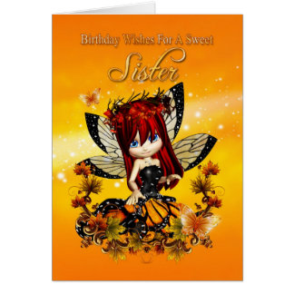 tarjeta de cumpleaños de la hermana - hada del col