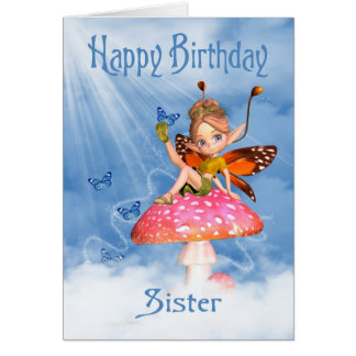 Tarjeta de cumpleaños de la hermana - hada linda e