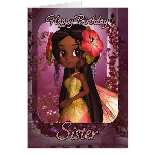 Tarjeta de cumpleaños de la hermana - hada rosada