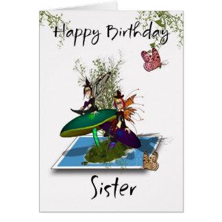 Tarjeta de cumpleaños de la hermana - hadas gótica